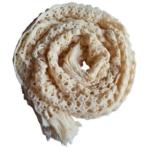 Knitted Ivory Crochet Style Shawl Scarf